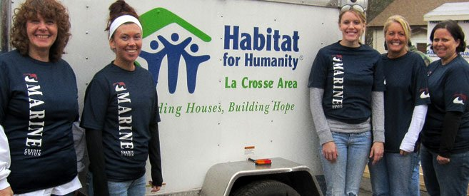 Marine helping Habitat for Humanity