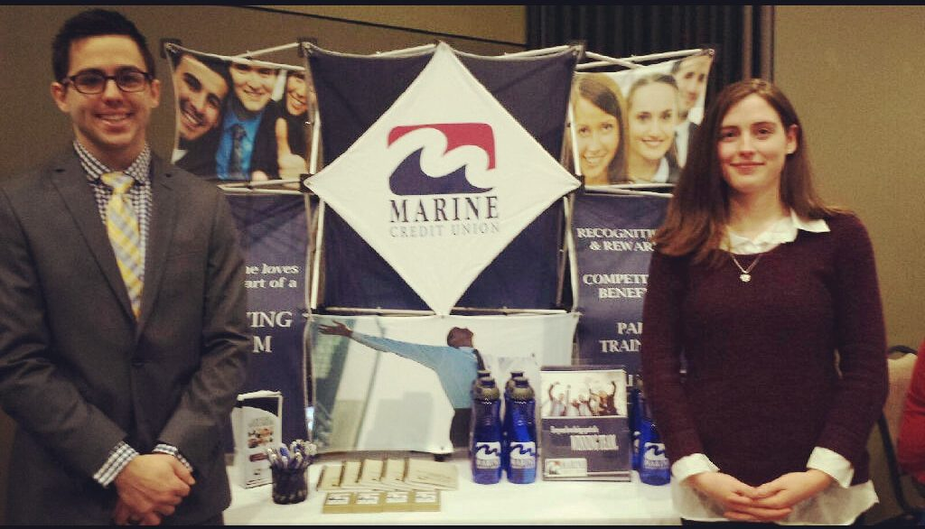 Marine employees at career fair