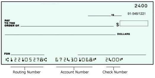 Check with routing & account number