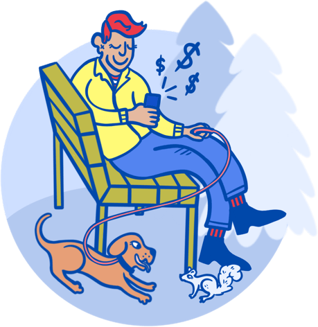 Man with dog banking on his cell phone